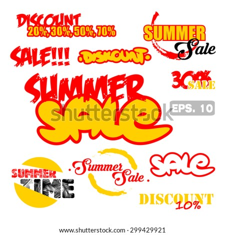 summer sale banners. vector icons design. white background
