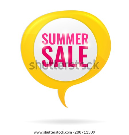 Summer Sale circle tag in yellow sunshine speech bubble. Concept of discount. Vector illustration. - stock vector