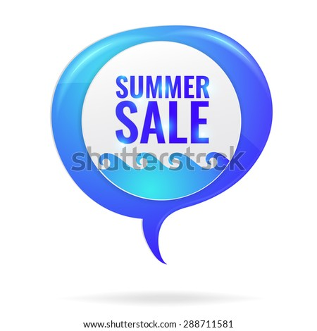 Summer sale circle tag with waves in blue marine speech bubble. Discount concept vector illustration. - stock vector
