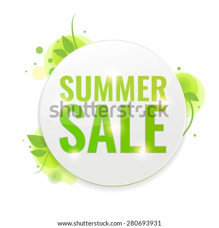 Summer Sale circle tags with green nature background. Concept of discount. Vector illustration. - stock vector