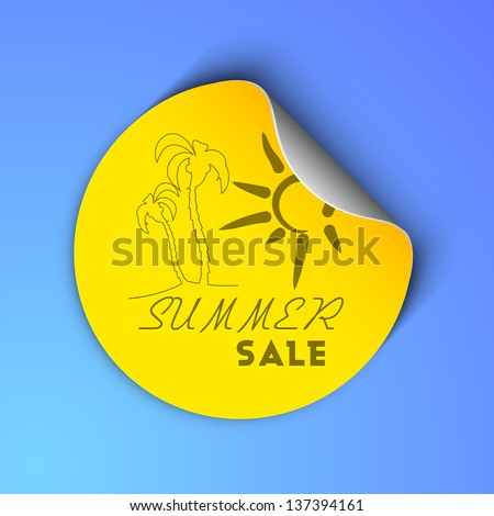 Summer sale concept with palm trees and sun design on sticker, label or tag in yellow color on blue background. - stock vector