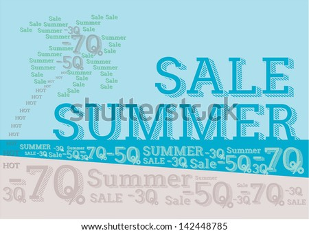 Summer sale design template made from letters - typographic composition. Vector illustration. Vintage - stock vector