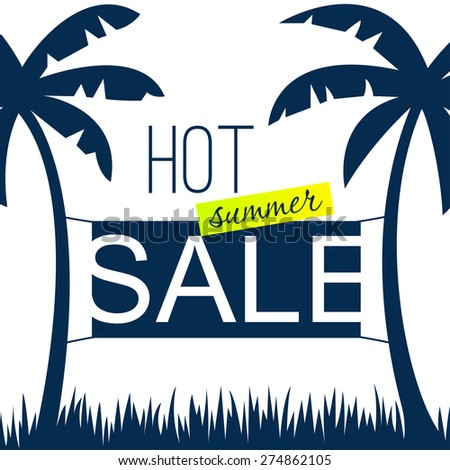 Summer sale design template with palms. Vector illustration - stock vector