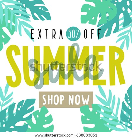 Summer sale flyer, poster. Tropical leafs. Vector hand drawn illustration