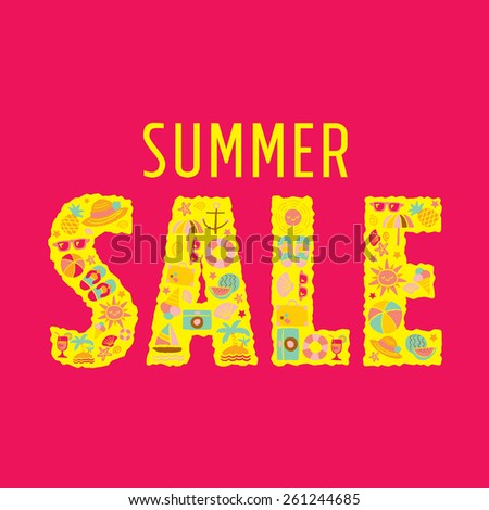 summer sale - freehand drawing vector illustration - stock vector