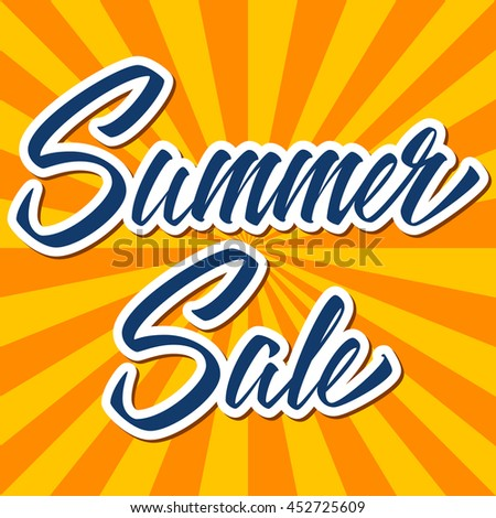 Summer Sale hand drawn lettering design vector banner.