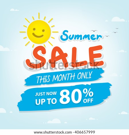 Summer Sale heading design for banner or poster. Sale and discounts. Vector illustration - stock vector