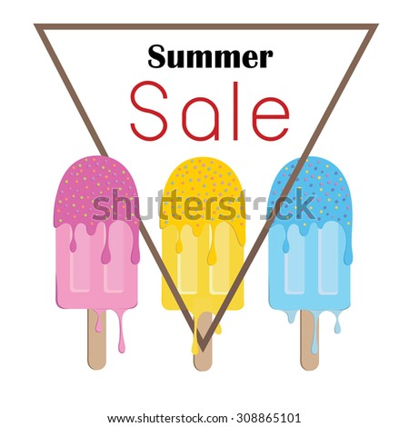 summer sale ice cream colorful symbol or poster fashion sale advertisement Pink , yellow ,blue melt - stock vector