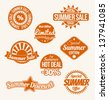 Summer sale labels set with orange color - stock vector