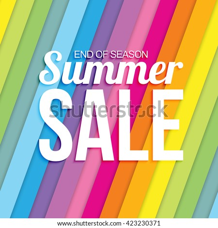 Summer sale on colorful striped seamless background. - stock vector
