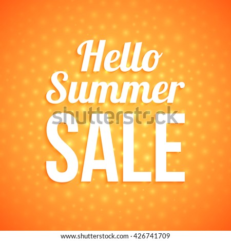 Summer sale on orange background with glowing dots.