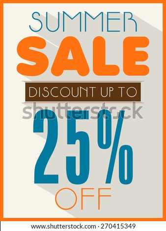 Summer Sale poster, banner or flyer design with 25% discount offer. - stock vector