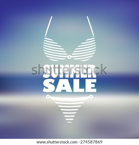 Summer sale poster with sexy woman bikini and text. Beach blurred background flyer for promotion, advertising. Eps10 vector illustration. - stock vector