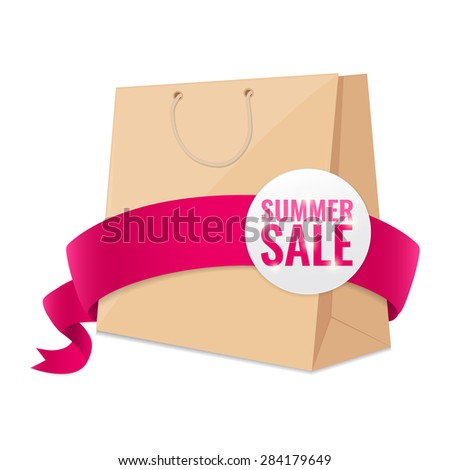 Summer sale shopping bag with pink ribbon. Colorful detailed Vector illustration. Discount concept. - stock vector