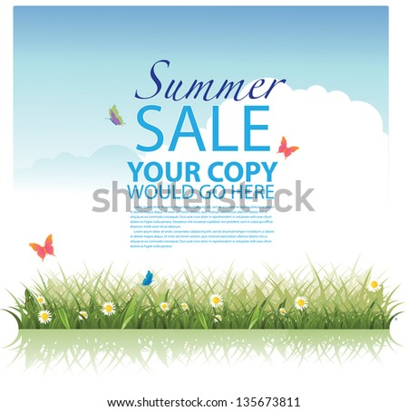 Summer sale template. EPS 8 vector, grouped for easy editing. No open shapes or paths. - stock vector
