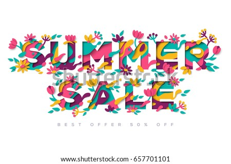 Summer Sale typography design with abstract shapes and floral elements isolated on white background. Vector illustration. Colorful template for business event. Paper cut blooming flowers and leaves