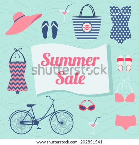 Summer sale. Vector background with beach accessories - stock vector