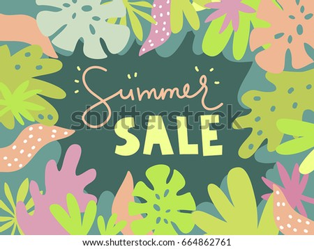 Summer sale. Vector cartoon poster. Summertime. Frame with tropic plants and leafs. Place for text. Template for trendy design for brochure, card, banner, flyer, cover. Simple flat style. Vector