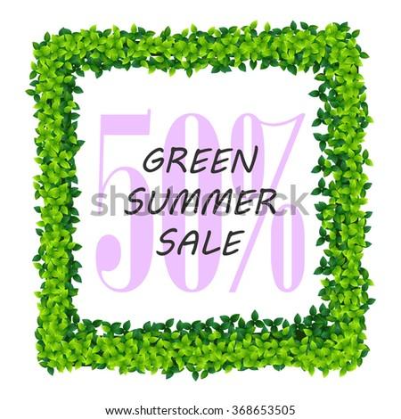 summer sale vector flyer illustration with green leaves frame - stock vector