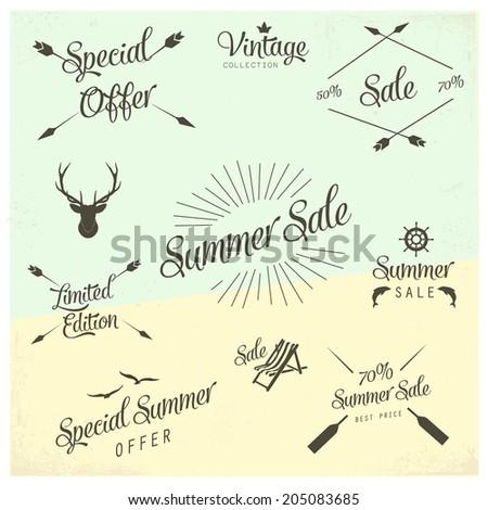 Summer sale vector labels - stock vector