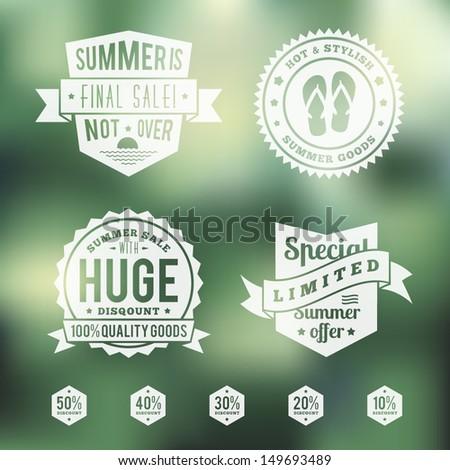 Summer sale vintage badges set - stock vector