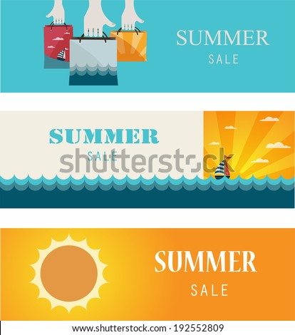 Summer Sale. Vintage banners/cards. Vector illustration - stock vector
