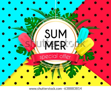 Summer Sale Vivid Layout Design With Ice Cream, Lettering, Ribbon, Frame,  Background