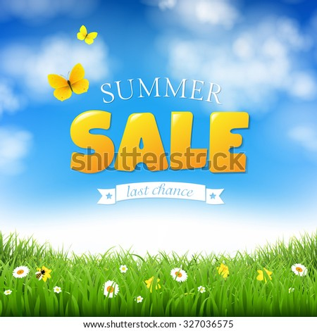 Summer Sale With Grass And Clouds With Gradient Mesh, Vector Illustration - stock vector