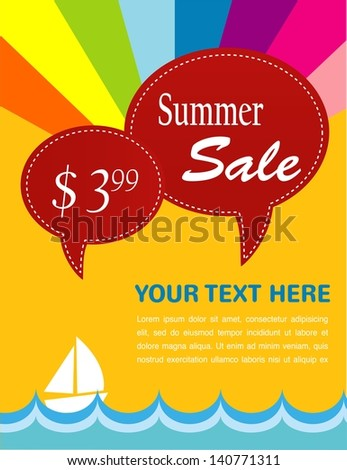 summer sale; yacht and sea with price tags as speech bubbles - stock vector