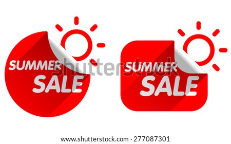 Summer sales stickers on white background - stock vector