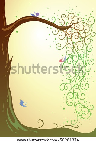 summer scene with tree and colorful birds with place for your text (AI8 with gradient)