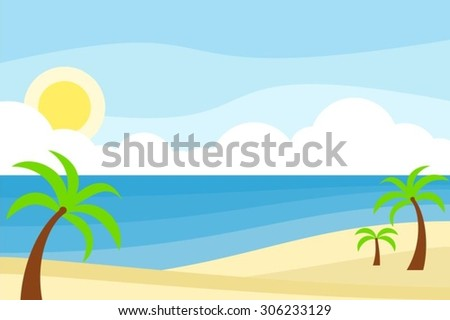 Summer scenery of beach in flat style