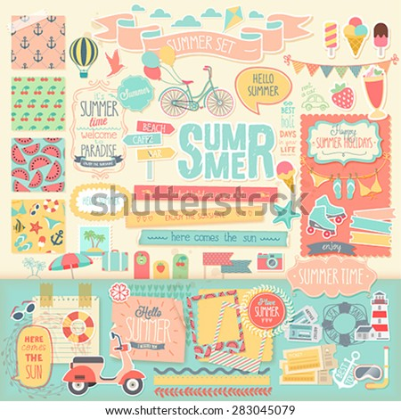 Summer scrapbook set - decorative elements. Vector illustration. - stock vector