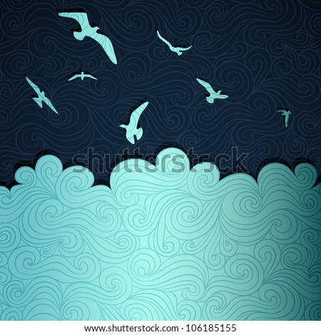 Summer sea banner made of fancy paper, vector eps8 illustration - stock vector