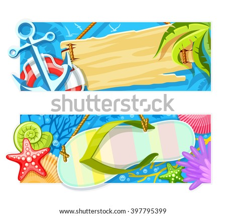 Summer sea beach rest banners with copyspace signs vector illustration. Isolated on white background. tropical vacantion flyers set  - stock vector