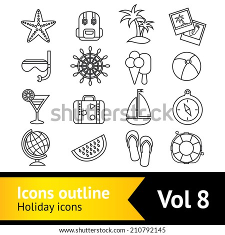 Summer sea beach vacation symbols outline pictograms collection backpack snorkel mask flip-flops compass vector isolated illustration - stock vector