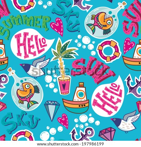 Summer sea holiday background! Vector backdrop. Bright pattern. Summer template. Use for wallpaper,pattern fills, web page background. - stock vector