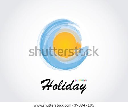 Summer, sea, holiday logo icon, vector for travel agency - stock vector