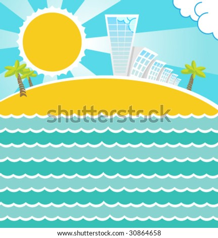 Summer sea landscape. Vector. - stock vector