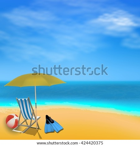 Summer sea view background with umbrella, ball. Beach,  blue sky, sand. Vacation illustration.