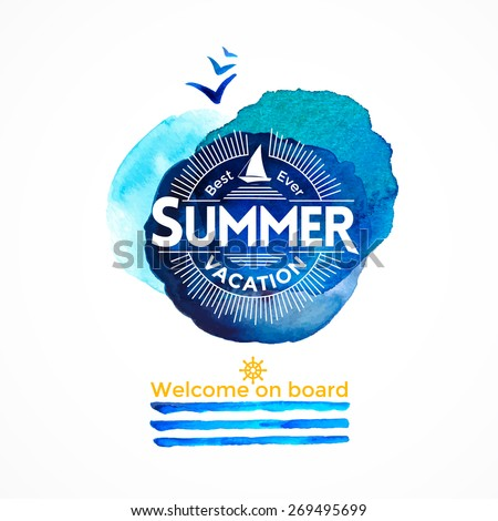 Summer sea watercolor background with yacht and round blue textures for business designe, summer flyers, cards - stock vector