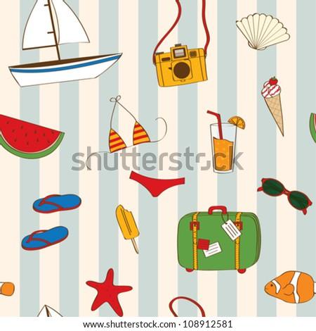 stock vector summer seamless 108912581 - Каталог — Фотообои «Еда, фрукты, для кухни»