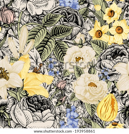 Summer seamless floral pattern. Vintage flowers Art. Flowers roses, white and yellow lilies, daffodils, tulips and blue delphinium and forget-me on a beige and black background.  - stock vector