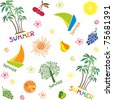 summer seamless pattern. isolated on White background. Vector illustration - stock vector