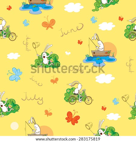 Summer seamless pattern with hares. - stock vector