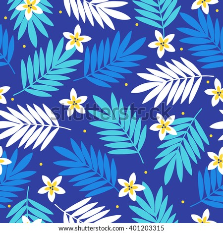 Summer seamless pattern with palm leaves and tropical flowers. Hawaiian motifs. Perfect for wallpapers, wrapping papers, textile, pattern fills, gift paper, summer greeting cards. Vector illustration - stock vector