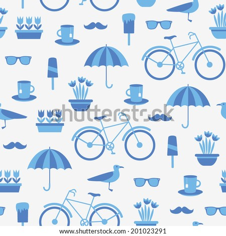 Summer seamless pattern with pot of flowers, bicycle, umbrella, seagull, glasses, cup with tea, etc. Vector illustration.  - stock vector