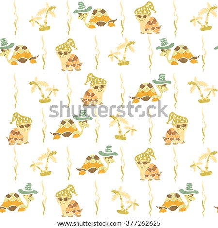 Summer seamless pattern with turtles and palm trees. Tropical elements for print.