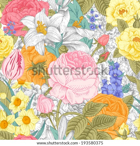 Summer seamless vintage floral pattern. Colorful flowers roses, lilies, daffodils, tulips and white on a gray background. Vector illustration. - stock vector