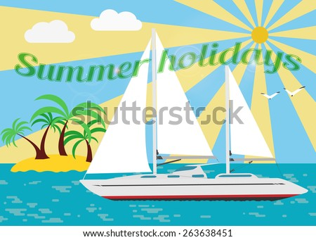 Summer seascape with sailboat. Vector. - stock vector